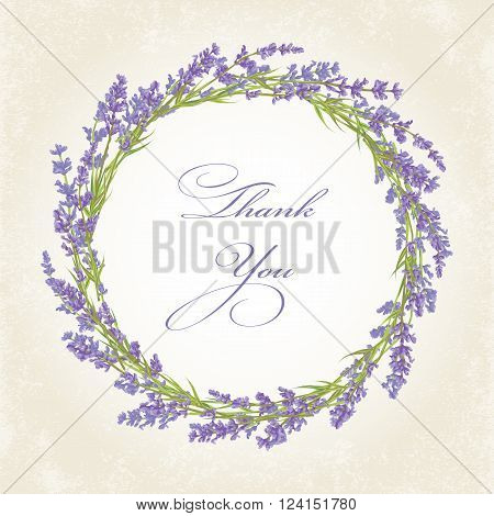 Thank you card with purple lavender flower. Vintage background. Vector illustration.