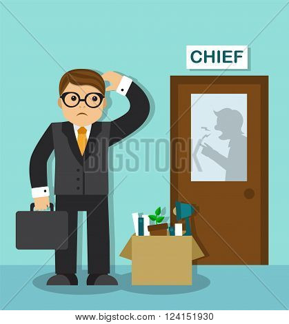 sad businessman with a box of things is at the door of the chief. Behind the door is visible silhouette of the boss, he shouts and gesticulates