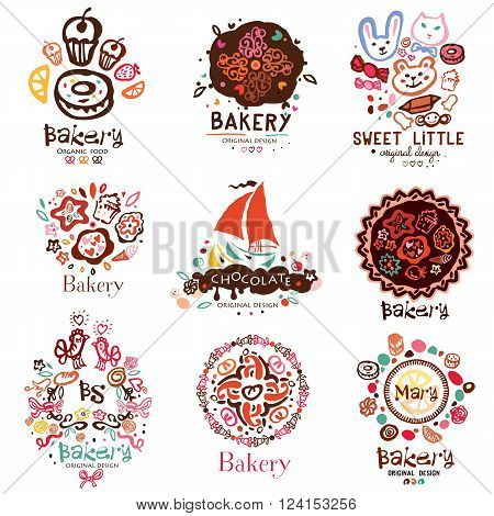 Logo of the bakery, symbols. Illustration of a confectionery. Sweet cakes candy cakes design elements. Logo handmade on the topic of sweet dessert and cakes.