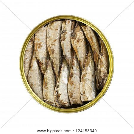 Canned smoked sprats fish in round tin isolated on white background. Top view.