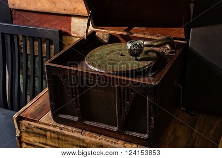 Vintage still life with Old Gramophone Player