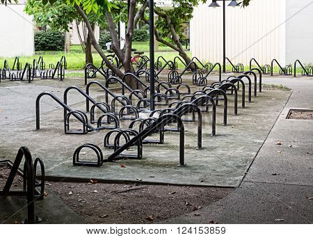Vacant Bike Parking Lot in Selective focus