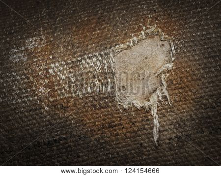 Detail (damage) Of An Old Canvas Suitcase, Close-up
