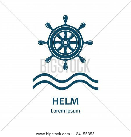 Nautical helm wheel. Helm logo for maritime companies. Boat wheel control rudder vector icon. Rudder ships sea wheel round control yacht cruise. Helm wheel isolated. Vector label template.