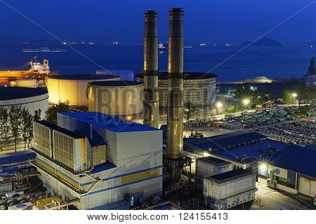 petrochemical industrial plant at night , Coal power station