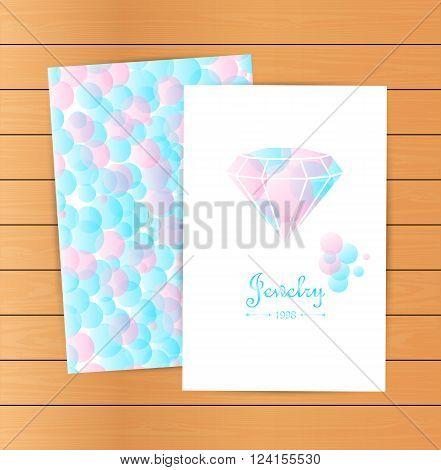 Lovely vector cards emblem design element logotypes set. Beautiful white diamonds shapes on blue bubble background. Jewelry store emblem. Diamond logo. Fashion style.