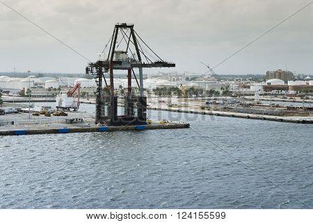 Port Everglades industrial harbour, Fort Lauderdale, Florida, USA
