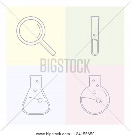 Science icons. Chemical tools and utensils. Laboratory ecology vector icon logo. Research and science. Lab glassware. Vector template for medicine science technology chemistry biotechnology.