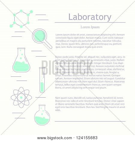 Vector template for medicine science technology chemistry biotechnology. Science icons. Chemical tools and utensils. Laboratory ecology vector icon logo. Research and science. Lab glassware.