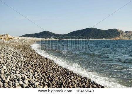 Lonely Beach Of Round Stones