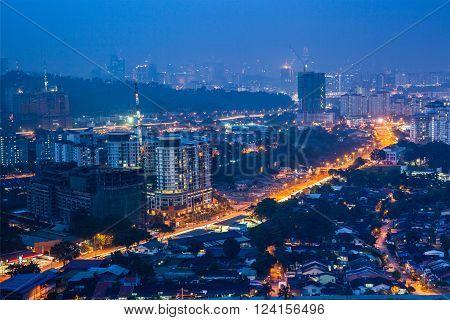 Kuala Lumpur skyline at night. Kuala Lumpur Malaysia.