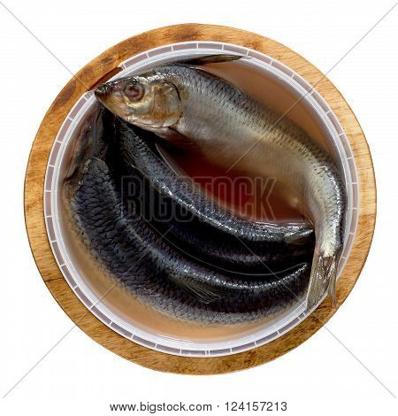 Herring, Salted In Brine On A Wooden Board