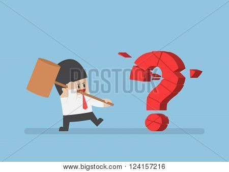 Businessman Holding Hammer Breaking Red Question Mark