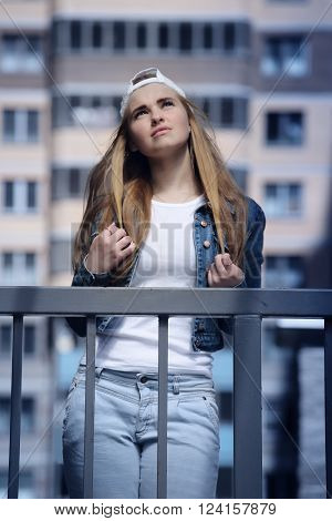Beautiful modern girl outdoors urban fashion youth style