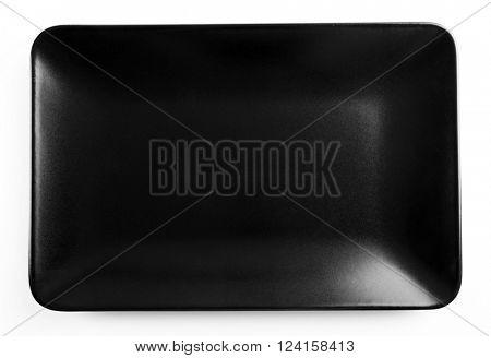 Rectangular black ceramic dish, isolated on white