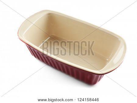 Rectangular brown ceramic baking dish, isolated on white