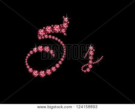 Ss in stunning Ruby Script precious round jewels isolated on black.
