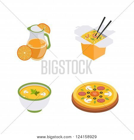 Set of isometric food icons, fast food. Wok pizza and soup.