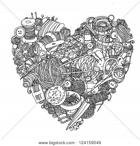 Needlework items black and white  ornament in heart shape as a symbol of love for needlework . Could be use  for adult coloring book  in zenart style.
