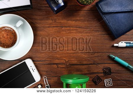 Stylish workplace with accessories, top view