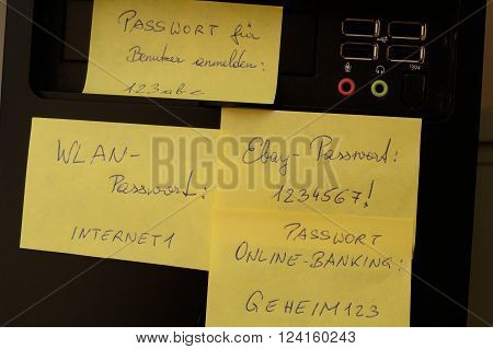 Notes with passwords for computer - closeup