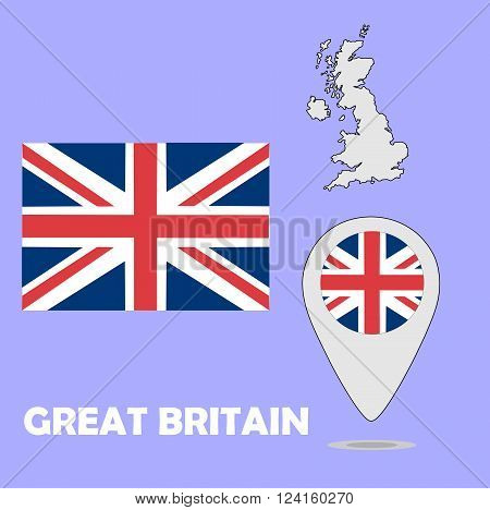 A pointer map and flag of Great Britain