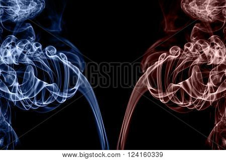 abstract smoke with pantone color on black background with copy space, trendy colorful concept