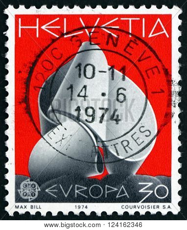 SWITZERLAND - CIRCA 1974: a stamp printed in the Switzerland shows Continuity Sculpture by Max Bill circa 1974