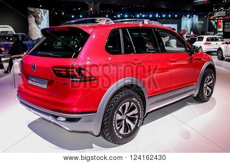 NEW YORK - MARCH 23: A Volkswagen Tiguan GT Active Concept shown at the 2016 New York International Auto Show,  public show is running from March 25th through April 3, 2016 in New York, NY.
