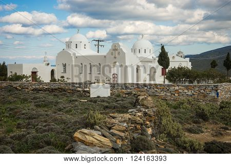 White Church At The Side Of The Road At Tinos