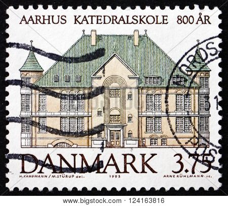 DENMARK - CIRCA 1995: a stamp printed in Denmark shows Aarhus Cathedral School 800th Anniversary circa 1995
