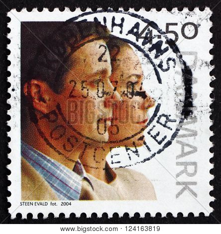 DENMARK - CIRCA 2004: a stamp printed in Denmark dedicated to Wedding of Crown Prince Frederik and Mary Donaldson circa 2004