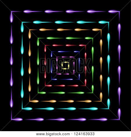 Squares in squares flying fireflies abstract vector background