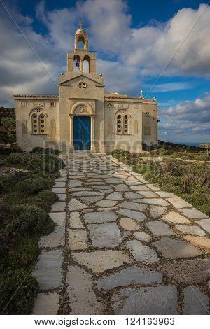 Small Church At  Side Of Road Near Isternia At Tinos