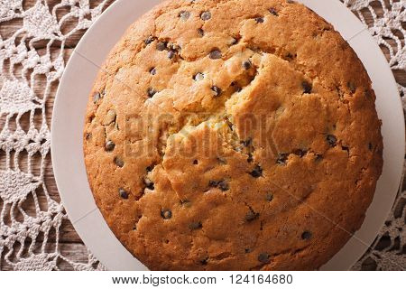 Freshly Baked Biscuit Cake With Chocolate Chips Macro. Horizontal Top View