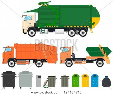Set of isolated garbage trucks with tanks on a white background. Cleaning Machines. Vector illustration