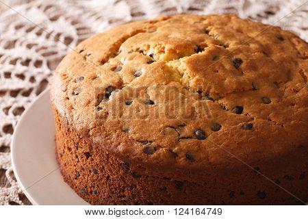 Homemade Sponge Cake With Chocolate Chips Close-up. Horizontal