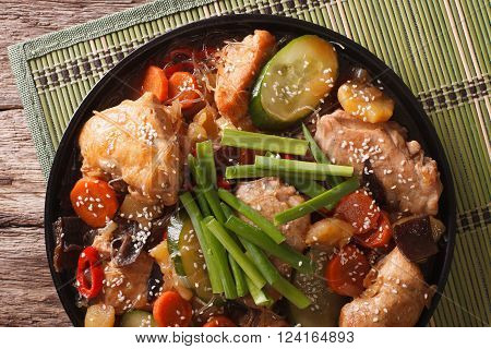 Dakjim Braised Chicken With Vegetables In A Korean Style Close-up. Horizontal Top View
