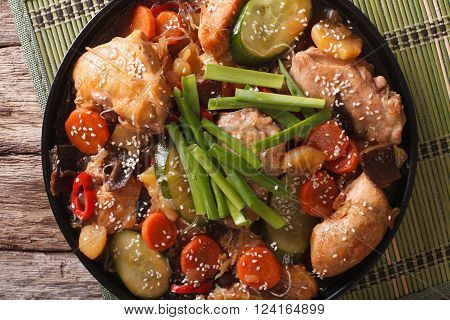 Korean Dakjim: Chicken With Vegetables Close-up. Horizontal Top View
