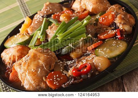 Korean Food Braised Chicken With Vegetables Close-up. Horizontal