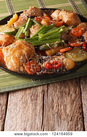 Korean Food Braised Chicken With Vegetables Close-up. Vertical