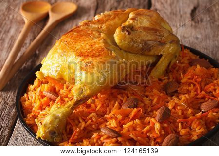 Traditional Arabic Food: Kabsa With Chicken Closeup. Horizontal