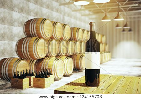 Wine Bottle In Winery