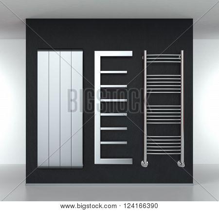 three modern radiators on a dark wall (3d render)