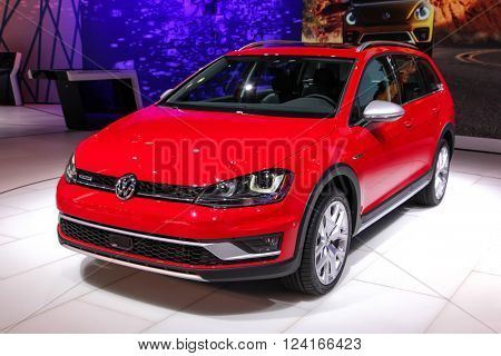 NEW YORK - MARCH 23: A Volkswagen Golf TSI at the 2016 New York International Auto Show during Press day,  public show is running from March 25th through April 3, 2016 in New York, NY.