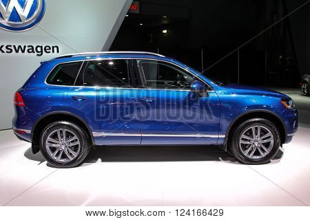 NEW YORK - MARCH 23: A Volkswagen Touareg at the 2016 New York International Auto Show during Press day,  public show is running from March 25th through April 3, 2016 in New York, NY.