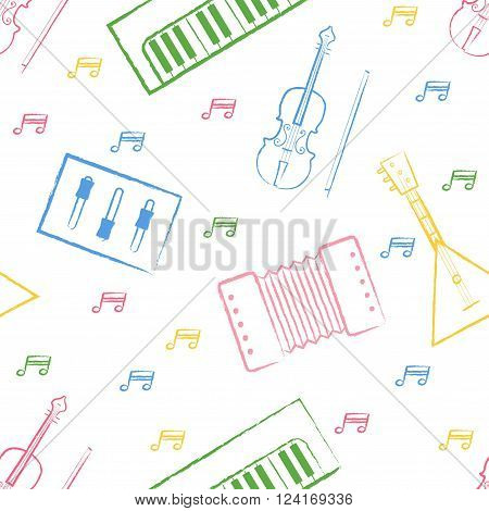 Seamless pattern children's color felt-tip pen drawings on white background Hand-drawn style. Seamless vector wallpaper with the image of musical instruments  piano, balalaika, mixer, violin bow, note