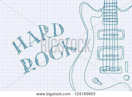 Inscription hard rock on notebook sheet patterned guitar