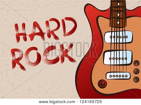 Inscription hard rock on grunge background patterned guitar