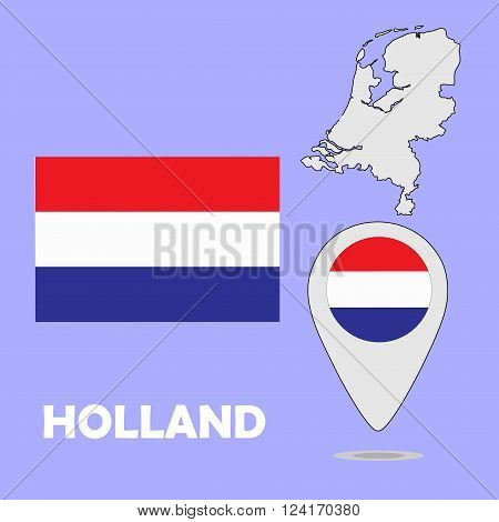 A pointer map and flag of Holland